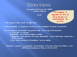 Directions Caring for the Patient with  COPD