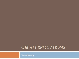 Great Expectations Vocabulary