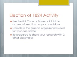Election of 1824 Activity