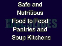 Donating Safe and Nutritious Food to Food Pantries and Soup Kitchens