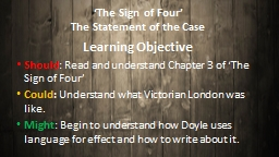 �The Sign of Four� The Statement of the Case