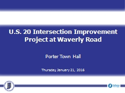 U.S. 20 Intersection Improvement Project at Waverly Road