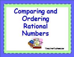 Comparing and  Ordering