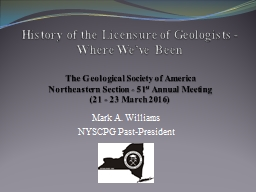 History of the Licensure of Geologists - Where We've Been