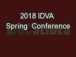 2018 IDVA Spring  Conference