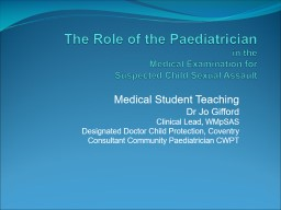 The Role of the Paediatrician