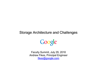 Storage architecture and challenges
