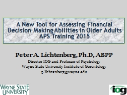 A New Tool for Assessing Financial Decision Making Abilities in Older Adults