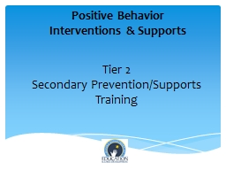 Tier 2 Secondary Prevention/Supports