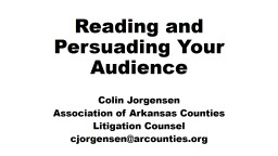 Reading and Persuading Your Audience PowerPoint PPT Presentation