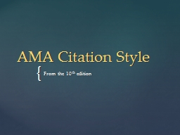 AMA Citation Style From the 10