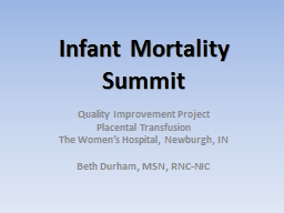 Infant Mortality Summit Quality Improvement Project