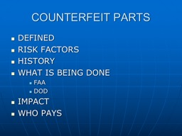 COUNTERFEIT PARTS DEFINED