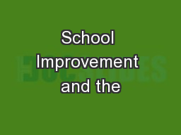 School Improvement and the