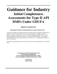 Guidance for Industry Initial Completeness Assessment PowerPoint PPT Presentation