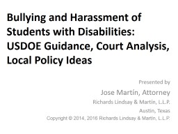 Bullying and Harassment of Students with Disabilities: USDOE Guidance, Court Analysis, Local Policy
