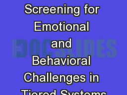 Systematic Screening for Emotional and Behavioral Challenges in Tiered Systems