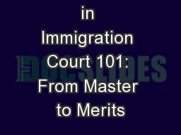 Procedures  in Immigration Court 101: From Master to Merits