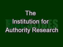 The Institution for Authority Research
