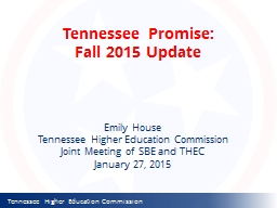 Tennessee Promise: Fall 2015 Update