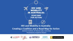 HIV and Mobility in Australia: Road Map for Action