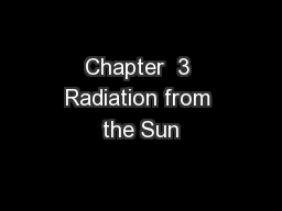Chapter  3 Radiation from the Sun