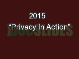 2015  �Privacy In Action�
