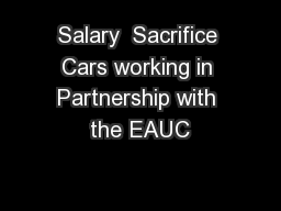 Salary  Sacrifice Cars working in Partnership with the EAUC