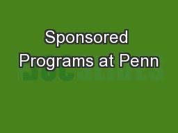 Sponsored Programs at Penn