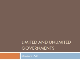 Limited and Unlimited Governments
