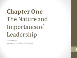 Chapter One The Nature and Importance of Leadership PowerPoint PPT Presentation