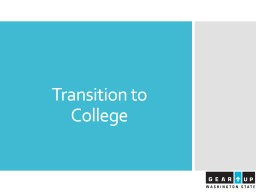 Transition to College  Introductions