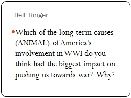 Bell Ringer Which of the long-term causes (ANIMAL) of America�s involvement in WWI do you think h