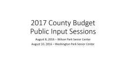 2017 County Budget Public Input Sessions