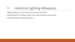NEC Historical Lighting Allowance