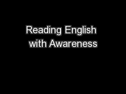Reading English with Awareness