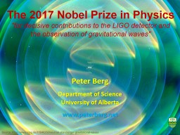 The 2017 Nobel Prize in Physics