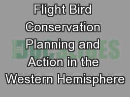 Partners in Flight Bird Conservation Planning and Action in the Western Hemisphere
