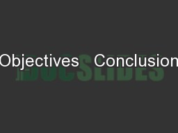 Objectives � Conclusion
