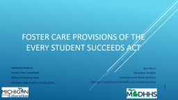 Foster Care Provisions of the Every Student Succeeds Act