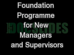 Foundation Programme for New Managers and Supervisors