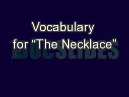 """Vocabulary for """"The Necklace"""""""