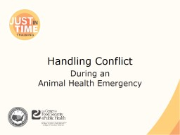 Handling Conflict  During an