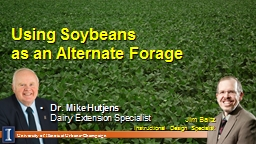 Using Soybeans  as  an Alternate Forage