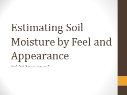 Estimating Soil Moisture by Feel and Appearance