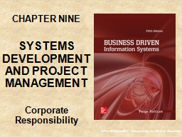 CHAPTER NINE SYSTEMS DEVELOPMENT AND PROJECT MANAGEMENT
