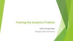 Framing the Analytics Problem
