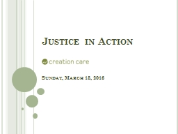 Justice in Action Sunday, March 13, 2016