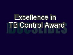 Excellence in TB Control Award