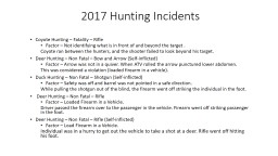 2017 Hunting Incidents Coyote Hunting – Fatality – Rifle PowerPoint PPT Presentation